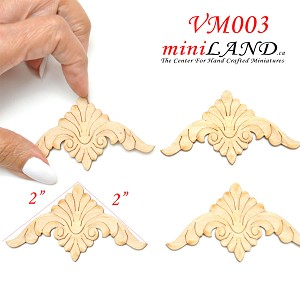 Large Wood Carved flowers Onlay Applique Unpainted 4pc for 1:6 or 1:4 dollhouse miniatures VM003UF