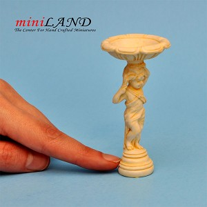 Cherub Bird Bath Ivory WA4264IV  for dollhouse miniature 1:12 scale