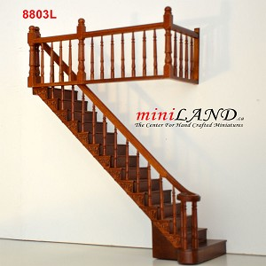 "LEFT Quality Staircase set with railings 1:12 Scale  for 9""-10"" Miniature Wooden dollhouse stair WN"