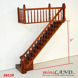 "RIGHT Quality Staircase set with railings 1:12 Scale  for 9""-10"" Miniature Wooden dollhouse stair WN"