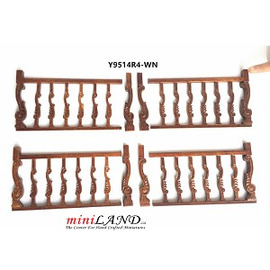 High quality hand crafted wood Baroque railing 4pcs set for 1:12 dollhouse miniature Walnut