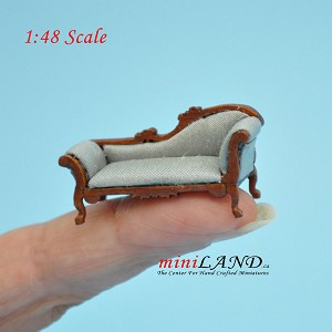 1:48 1/4' quarter scale chaise lounge sofa BLUE Top quality walnut for dollhouse miniature