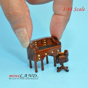 "1:48 1/4"" quarter scale desk and chair set Top quality walnut for dollhouse miniature"