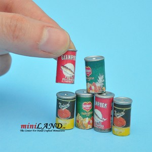 6 Cans for dollhouse miniature 1:12 scale