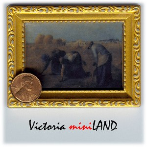 The Gleaners Picture painting in gold frame dollhouse miniature 1:12 scale