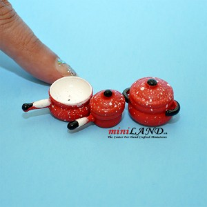 Red pots and pan trio dollhouse miniature 1:12 scale