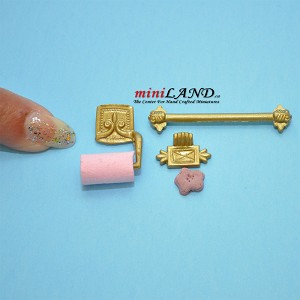 Gold bathroom kit  towel hanger and toilet paper dollhouse miniature 1:12 scale