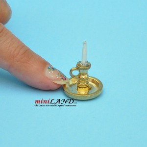 handheld candle on thick gold plate  dollhouse miniature 1:12 scale