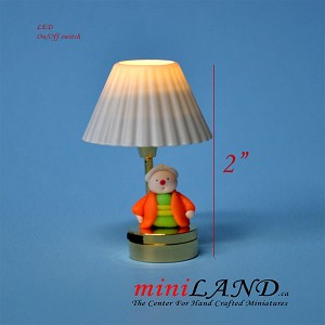 Child table LED LAMP light battery Handmade 1:12 girl Kid baby grandma