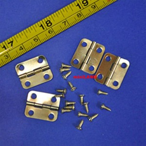 "18mm (about 3/4"") Hinges w/16 screws Set/4 Brass 1:12 Scale dollhouse miniature"