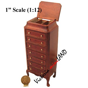 Eight-drawer collectible Cabinet for 1:12 Scale dollhouse miniature wood