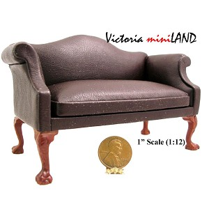 Queen Anne Love Seat sofa for 1:12 Scale dollhouse miniature wood brown