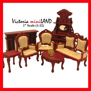 Economy Set 7pcs Victorian living room set 1:12 scale dollhouses miniature