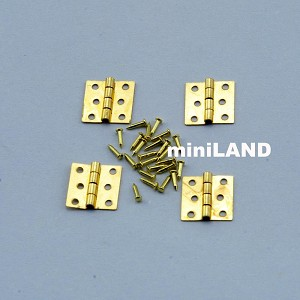 8.5mm butt Hinges + nails Set/4 Brass 1:12 Scale dollhouse miniature top Quality