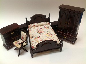 Economic 6-Pieces Bedroom Set  Dollhouse miniature 1:12
