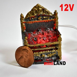 Fire Grate For The Fireplace Dollhouse 12v Glowing Embers light miniature 01