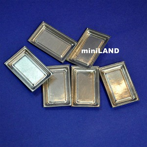 6pcs miniature metal trays Dollhouse 1:12 scale cookies Kitchen bakery tray