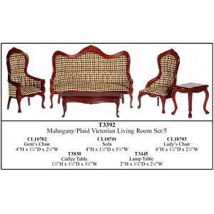 Economic Victorian LIVING ROOM SET 5pcs T0014 1:12 scale