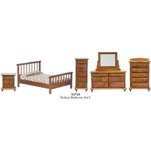 Economic BEDROOM SET 5pcs WALNUT SET T6718 1:12 scale