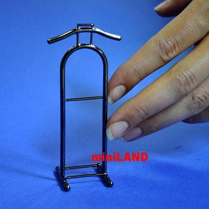 "valet stand 1:12 Scale dollhouse miniature 1.25""W x3.9""H Black clothes hanger"