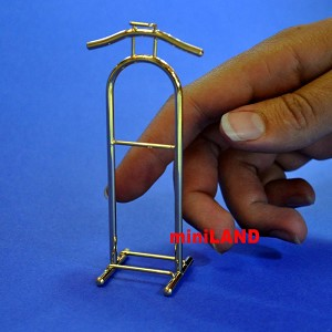 "valet stand 1:12 Scale dollhouse miniature 1.25""W x3.9""H brass clothes hanger Br"