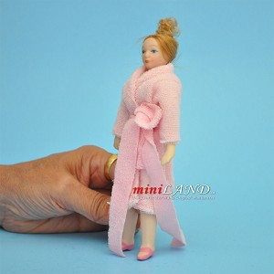 "Lady in Pink Bathrobe Porcelain doll  5.5""H"