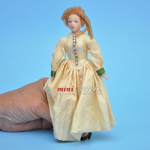 "Victorian Lady in Ivory Gown Porcelain doll  5.5""H"