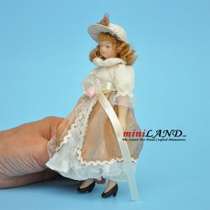 "Female in Pearls and Lace Porcelain doll  5.5""H"