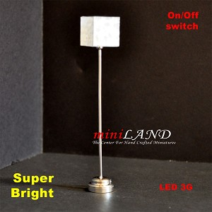 "Modern  floor lamp LED Super bright with On/off switch  5"" Silver"