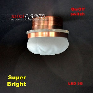 Ceiling lamp  frosted shade LED Super bright with On/off switch  Copper 1:12 dollhouse miniature