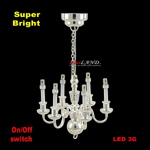 Silver Victorian 6 Arm chandelier  LED Super bright with On/off switch for 1:12 scale dollhouse miniature