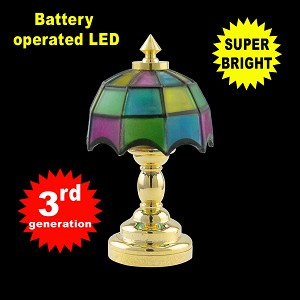 Colored brass Tiffany lamp LED Super bright with On/off switch 1:12 scale