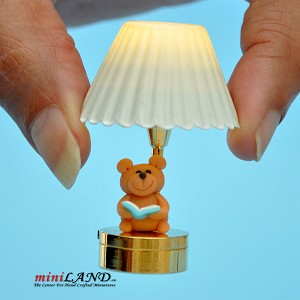 Child table LED LAMP light battery Handmade 1:12 Kid baby Bear