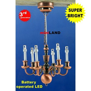 Copper Victorian 6 Arm chandelier  LED Super bright with On/off switch for dollhouse miniature 1:12 scale