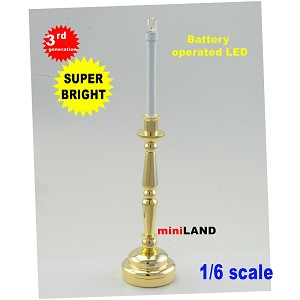 1/6 scale Brass Candlesticks lamp LED Super bright with On/off switch