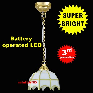 White Tiffany hanging lamp LED Super bright with On/off switch