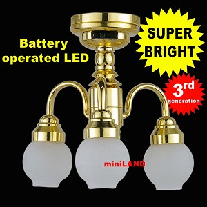 "3 Arm brass chandelier LED Super bright with On/off switch 1:12 scale for dollhouse miniature 2""H x 2""W"