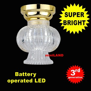Brass Fancy Clear Shade Ceiling Lamp LED Super bright with On/off switch 1:12 dollhouse miniature