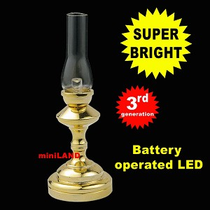 Hurricane tall  brass Lamp LED Super bright with On/off switch for 1:12 scale dollhouse miniature