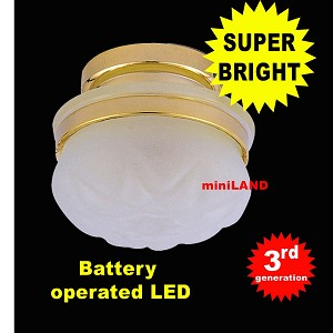 Ceiling lamp  frosted shade LED Super bright with On/off switch for 1:12 scale dollhouse miniature
