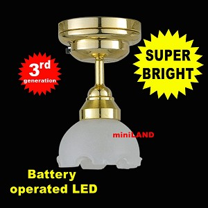 Brass Lg Frost Ceiling Lamp LED Super bright with On/off switch for dollhouse miniature 1:12 scale