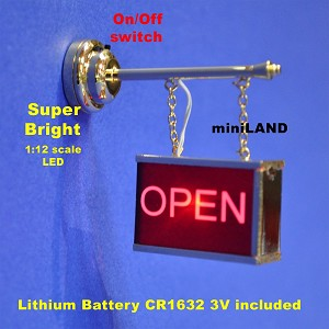 FLASHING OPEN STORE SIGN Dollhouse miniature roombox light on/off battery LED
