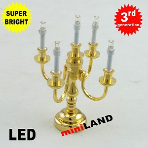 Brass Candelabra 5 arms LED Super bright with On/off switch