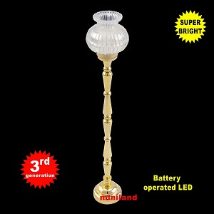 Brass Floor Lamp LED Super bright with On/off switch  for 1:12 dollhouse miniatures