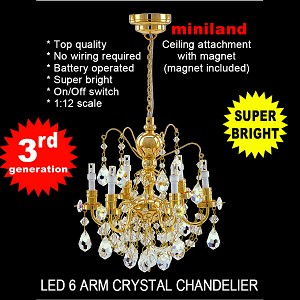 Brass Crystal gold chandeliers, 6 arms, LED Super bright with On/off switch 1:12 dollhouse miniature
