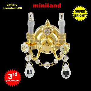Crystal gold sconce, 2 arms , LED Super bright with On/off switch 1:12 scale