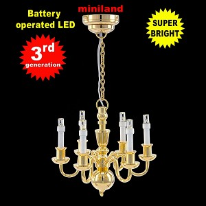 Brass Victorian 6 Arm chandelier  LED Super bright with On/off switch for 1:12 dollhouse miniature