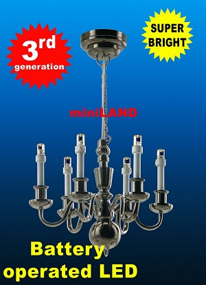 Black  Victorian 6 Arm chandelier  LED Super bright with On/off switch  dollhouse miniature 1:12 scale