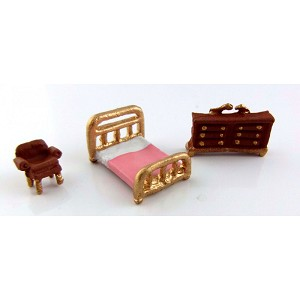 1:144 Scale Metal Bedroom Furniture Set dollhouse for dollhouse 3pcs