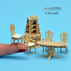 "1:48 1/4"" quarter scale Victorian dinning room set 6pcs Top quality UF"